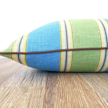 Green dog bed cover 25x36, green and turquoise floor pillow, medium dog bed duvet cover, stripe floor cushion, modern dog bed, large cushion