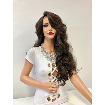 """Brown Long Curly Lace Front Wig 