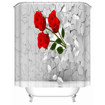 Bright Red Roses Shower Curtains Creative Customized Acceptable Eco-Friendly Bathroom Products Waterproof Shower Curtain