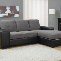 Charcoal Grey Corduroy / Black Leather-Look Sofa Lounger