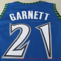 Rare Kevin Garnett 21 Minnesota Timberwolves New NBA Jersey Kevin Garnett Timberwolves Basketball All Stitched and Sewn Any Size S - XXL