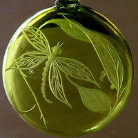 Hand Blown Hand Engraved Dragonfly Ornament, One-of-a-Kind Gifts, Home Decor, Wedding,  Spring green, Collector. Home accent