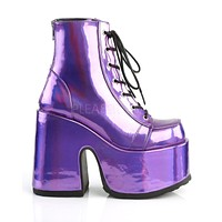 Purple Holographic Lace-Up Ankle Boot