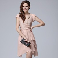 New Summer V-Neck Dress Pink - Designer Shoes|Bqueenshoes.com