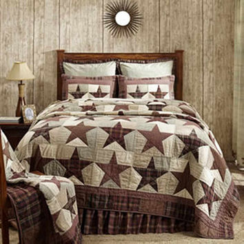 Abilene Star - Queen - Deluxe 7-pc Patchwork Quilt Set - 94x94 - Country/Rustic/Primitive