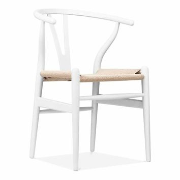 Inspired by Hans J. Wegner Wishbone Chair CH24 Y Chair - White & Natural Paper Cord