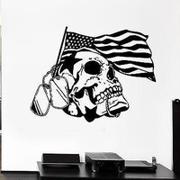 Wall Decal Flag Skull Star War Badges Army Death America Vinyl Stickers Unique Gift (ed133)