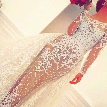 2017 See Through Wedding Dresses Long Sleeves Scoop Neck Detachable Train Mermaid Bridal Gowns