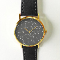 Constellation Watch, Astrology, Vintage Style Leather Watch,Women Watches,Unisex Watch,Boyfriend Watch,Men's Watch,Yellow Black Gray,Stars