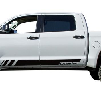Custom Text strobe door stripes Decals Vinyl Stickers Set fits Toyota Tundra