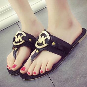 MICHAEL KORS New summer fashion slippers metal leisure letter MK sandals Black
