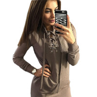 Vestidos Plus Size Women Dress Casual Hollow Out Bandage Bodycon Dress Autumn Winter Long Sleeve Solid Straight Mini Dress GV446