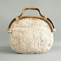 Vintage Asian Inspired Rattan Handle Purse