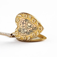 Vintage Heart Locket - Monogrammed H & L Mid Century Necklace - 1940s WWII Sweetheart Puffy Pendant Gold Filled Petite Romantic Love Jewelry