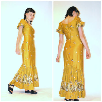 1960s fishtail boho dress/ vintage 60s BOMBSHELL hawaiian gold ethnic HOURGLASS hippie cocktail maxi dress
