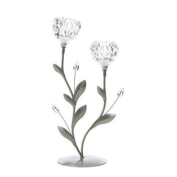 Crystal Flower Duo Candle Holder (pack of 1 EA)