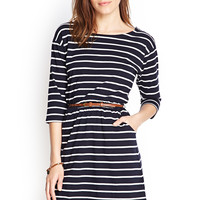 FOREVER 21 Stripe Print Belted Dress Burgundy/Cream