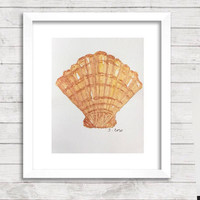 Seashell Watercolor painting, Shell Print of  Original nature painting, Fan shell, scallop shell, Beach art, beach house gift, kitchen art