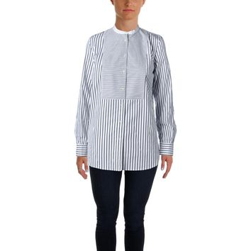 Lauren Ralph Lauren Womens Striped Tunic Button-Down Top