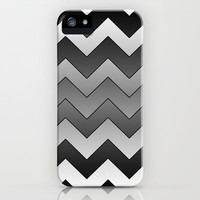 Chevron Black to White iPhone & iPod Case by Alice Gosling