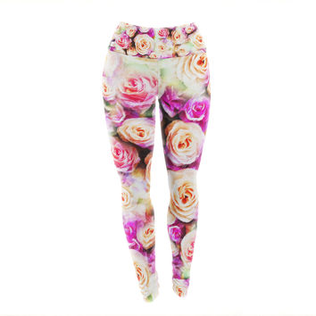 "Dawid Roc ""Sweet Pastel Pink Rose Flowers"" Multicolor Floral Yoga Leggings"