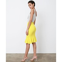 Heat Of The Moment Knit Skirt - Yellow