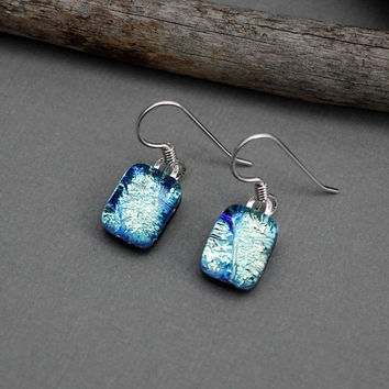 Dichroic Glass Earrings - Sterling Silver Dangle Earrings - Fused Glass Earrings - Unique Earrings - Gift For Her