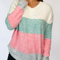 Color Block Sweater - Pink and Mint