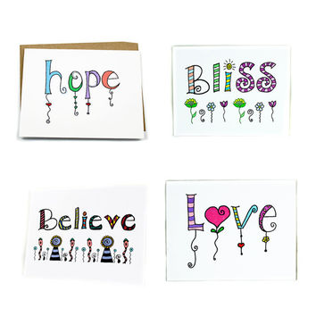 Assorted Variety Stationery Pack of 4 Cards.  Inspirational Zentangle Lettered Cards.  All Occasion Greeting Card Set.