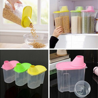 New 1.9L Creative Plastic Kitchen Food Cereal Grain Bean Rice Storage Container Box 3Colors