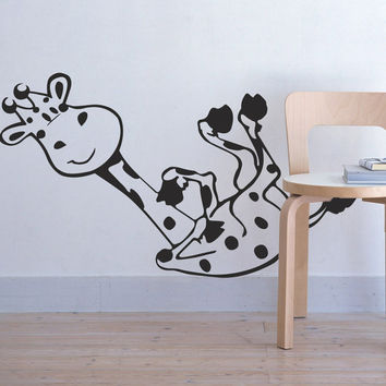 I197 Wall Decal Vinyl Sticker Art Decor Design giraffe animal kids room boy girl cartoon game Living Room Bedroom