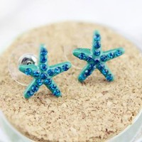 Cute Starfish with Rhinestone Earrings by forevervintage on Zibbet
