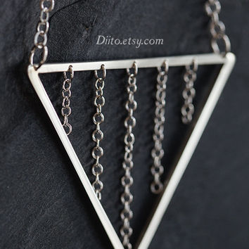 Sterling Silver Triangle Necklace, 32 inch Chain, Chain Necklace, Pyramid Necklace, Long Necklace, Geometric Jewelry, Ready To Ship!