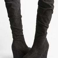SUEDE ROOSHED WEDGE BOOT