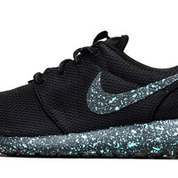 Nike Roshe One - Triple Black + Blue Paint Color Splatter