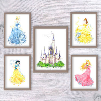 Disney princess set Cinderella castle Disney watercolor print art decor Kids room hangings Baby shower gift Girls room decoration V191