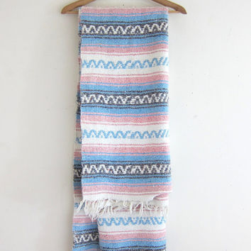 Vintage pink and blue Mexican Striped Ethnic Lap Blanket