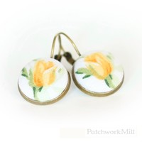 Antique Leverback Earrings, Shabby Cottage Chic Tulips, Fabric Button Jewelry by Patchwork Mill