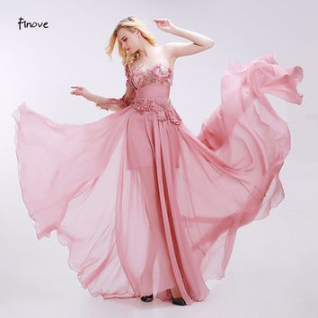 Dusty Pink Bridesmaid Dresses See-Through Tulle with Appliques Beading Modern Empire One Shoulder Chiffon Dresses