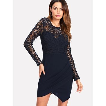 Lace Bodice Ruched Tulip Wrap Dress