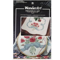 Rose Bouquet, Vintage Wonder Art Perle Edged Dresser Scarf, Stamped Embroidery Kit