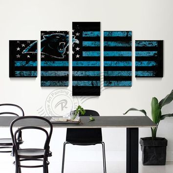 5 Panel Carolina Panthers Sport Flag Canvas Art Oil Painting Abstract Wall Picture Cuadros Decoracion Poster And Prints Unframd