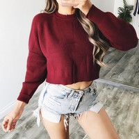 Mely Knit Cropped Sweater (Burgundy)