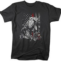 Shirts By Sarah Men's Firefighter Red Line T-Shirt Flag Fireman Shirt Kneel Shirt