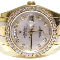 Rolex Mens Day-Date Tridor 3 Tone Masterpiece MOP Diamond Dial 18948 Watch