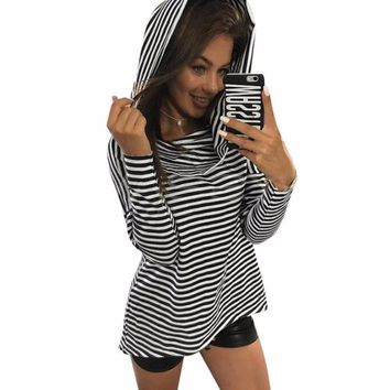 Women Fashion Blouse Sexy Personality Stripe Long Sleeve Hooded Shirt