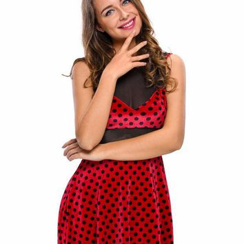 PEAPUNT 2016 Sexy Adult Cosplay 2pcs Polka Dot Mistress Mouse Costume Set Fancy Dress LC89029 Animal Costume with Headwear Club Party