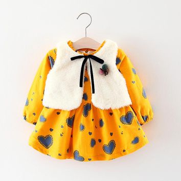 Baby Dresses fashion winter Thicker Baby Girls Clothes+vest 2pcs Baby Princess Dress cute Cotton Kids Clothing 0-24M girls