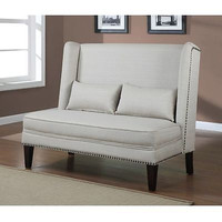 Wing Back Off White Natural Linen Loveseat Trim Nail Sofa Living-room New Free