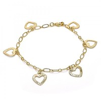Gold Layered 04.63.1371.08 Charm Bracelet, Heart Design, Polished Finish, Golden Tone